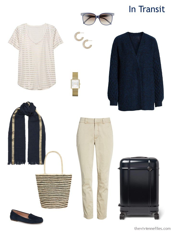 2. Travel outfit in navy and beige