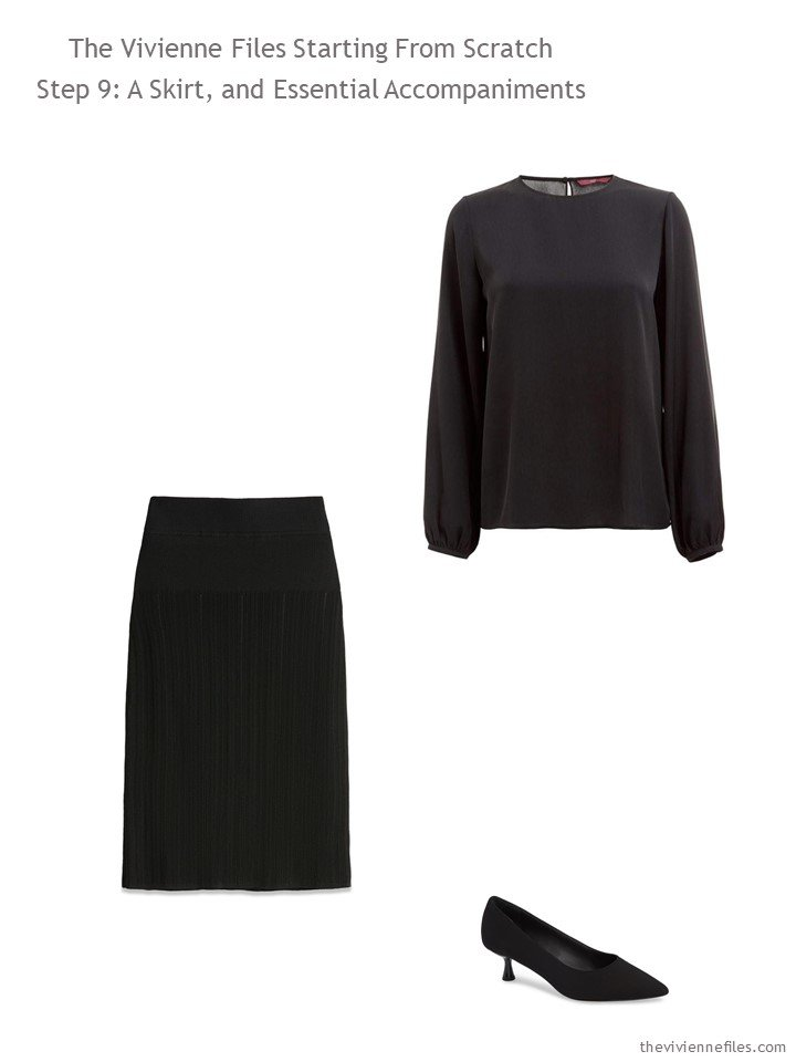 2. adding a black skirt and blouse to a capsule wardrobe