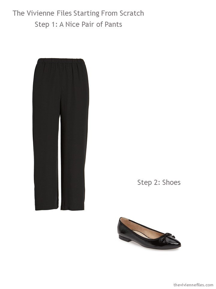 2. black pants and flats to begin a wardrobe