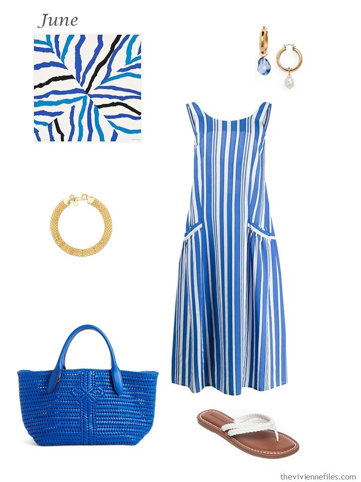 2. blue summer dress with accessories