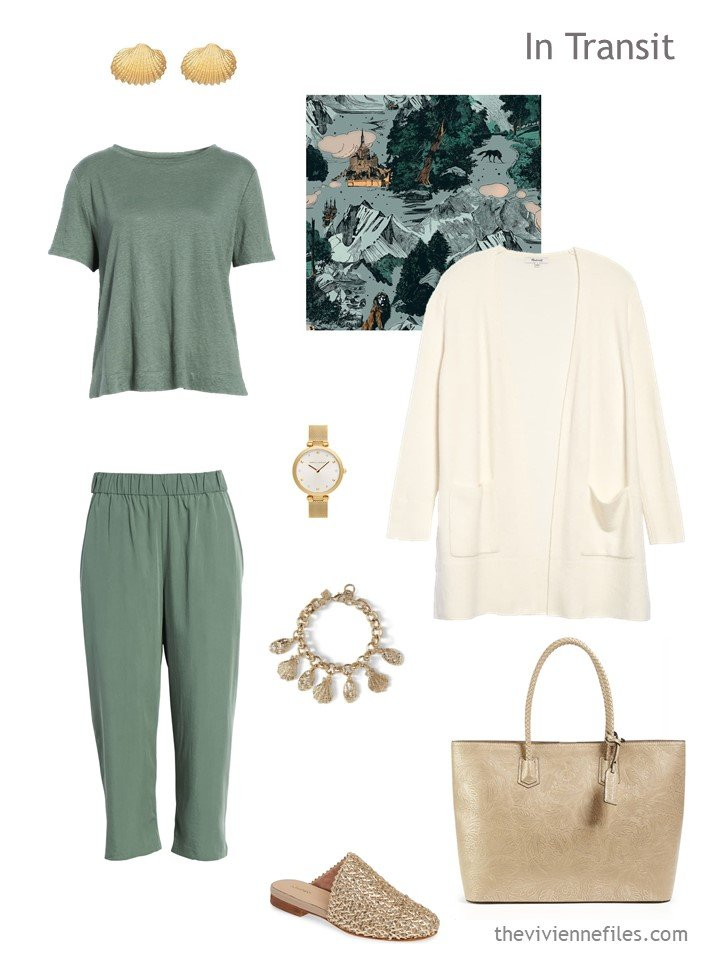 2. sage green and bone travel outfit