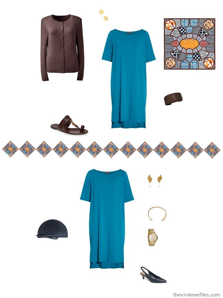 20. 2 ways to wear a turquoise dress from a capsule wardrobe