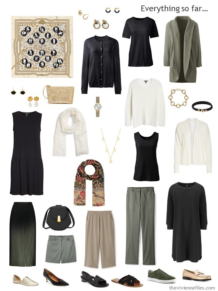 23. capsule wardrobe in black, ivory, and olive
