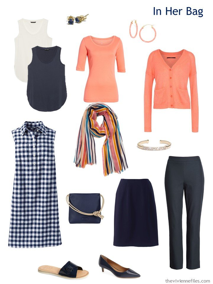 3. Six Pack Travel capsule wardrobe in navy, coral and ivory
