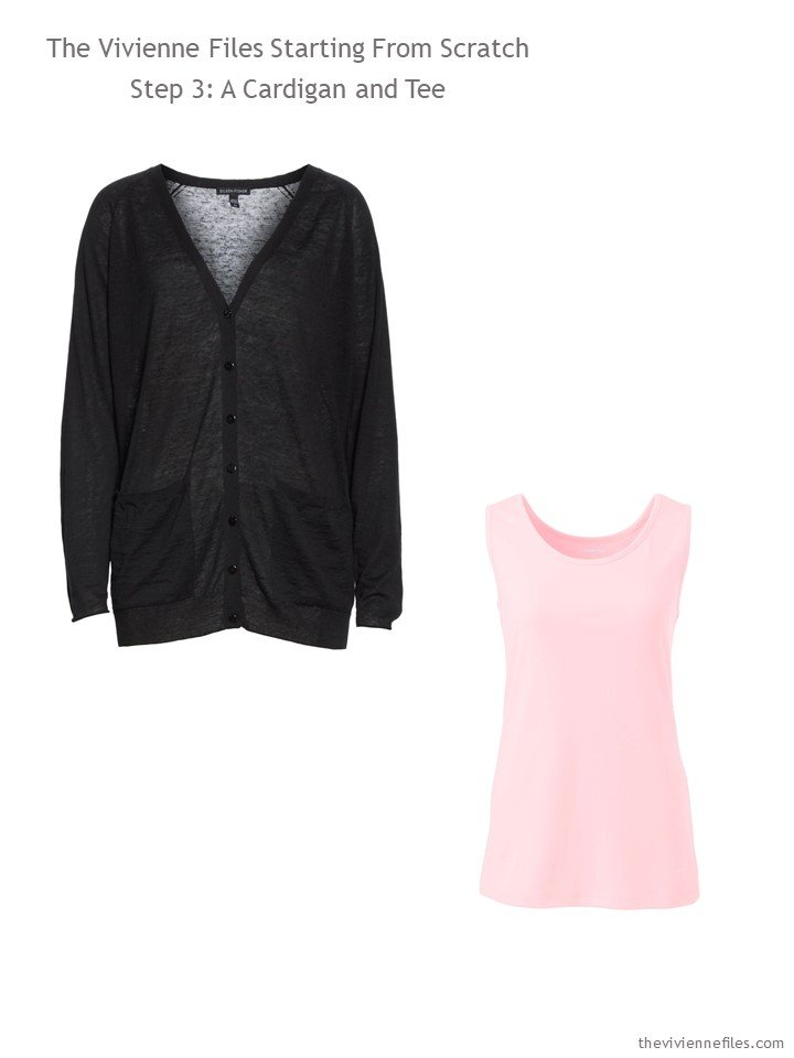 3. adding a black cardigan and pink tank top to a wardrobe