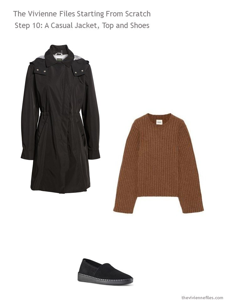 3. adding a trench coat and sweater to a travel capsule wardrobe