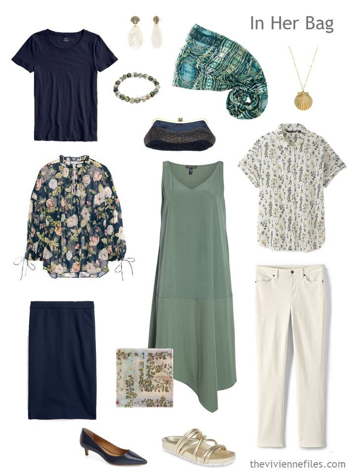 3. sage,navy and beige six pack travel capsule wardrobe