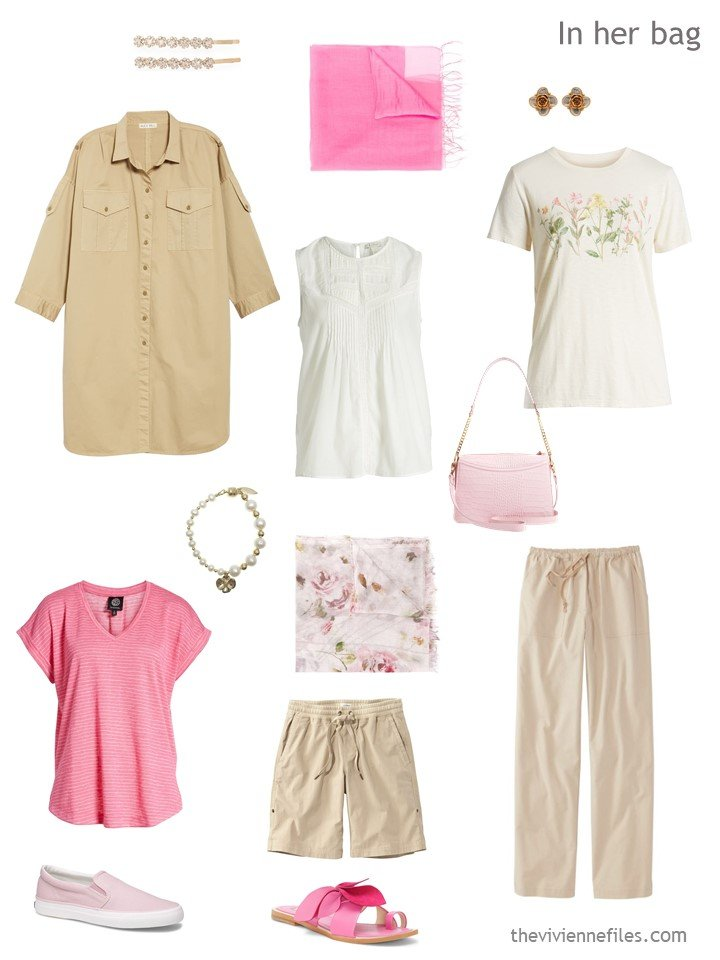 3. travel capsule wardrobe six-pack in beige and pink