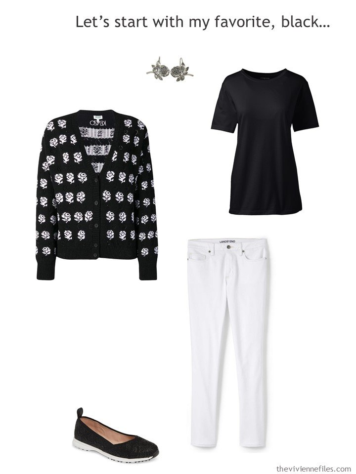 3. wearing white jeans with black