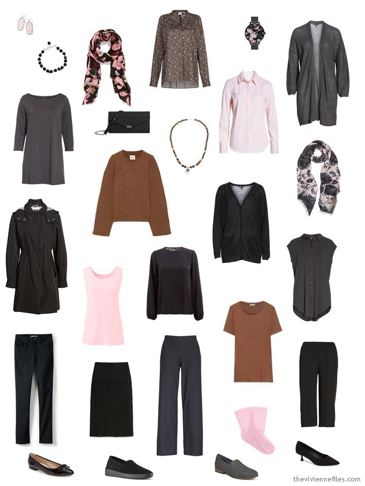 4. 14-piece travel capsule wardrobe in black, grey, brown and pink