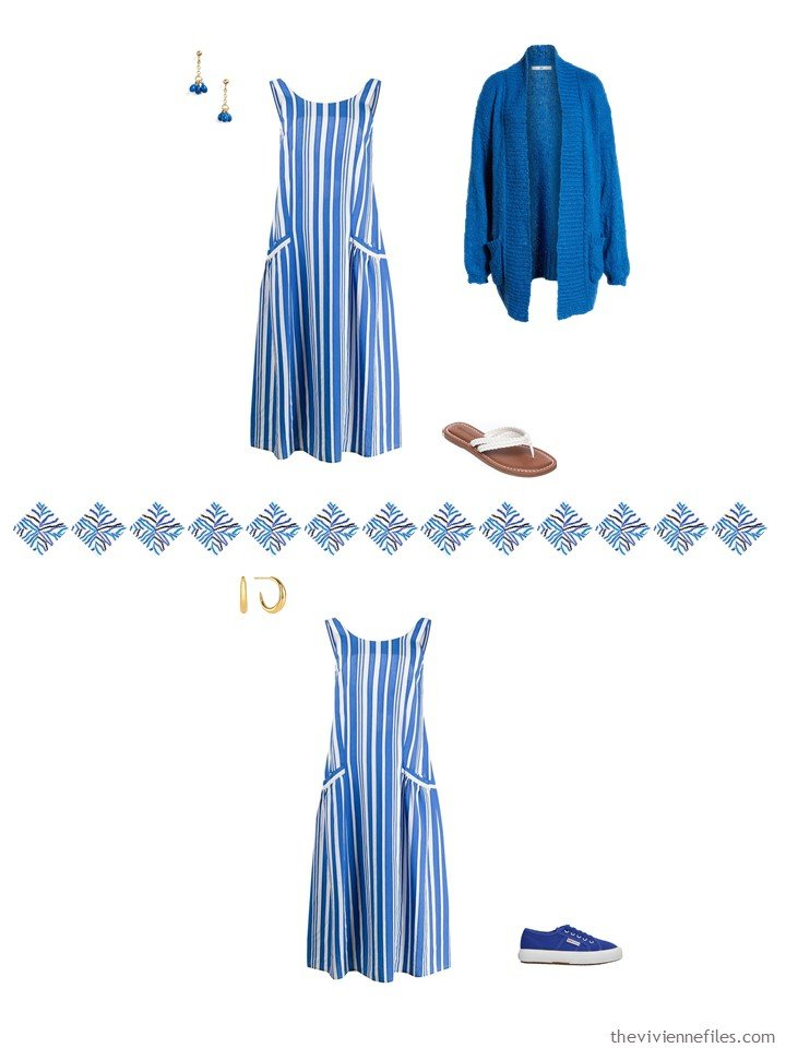 4. 2 ways to wear a blue dress from a capsule wardrobe