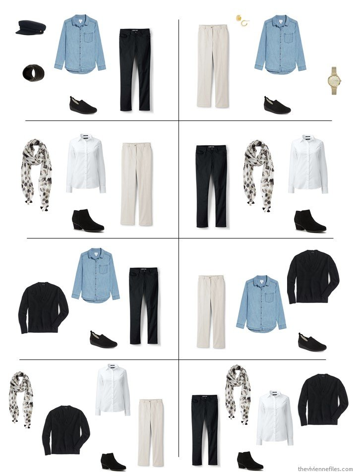 4. 8 outfits from a 5-piece wardrobe cluster
