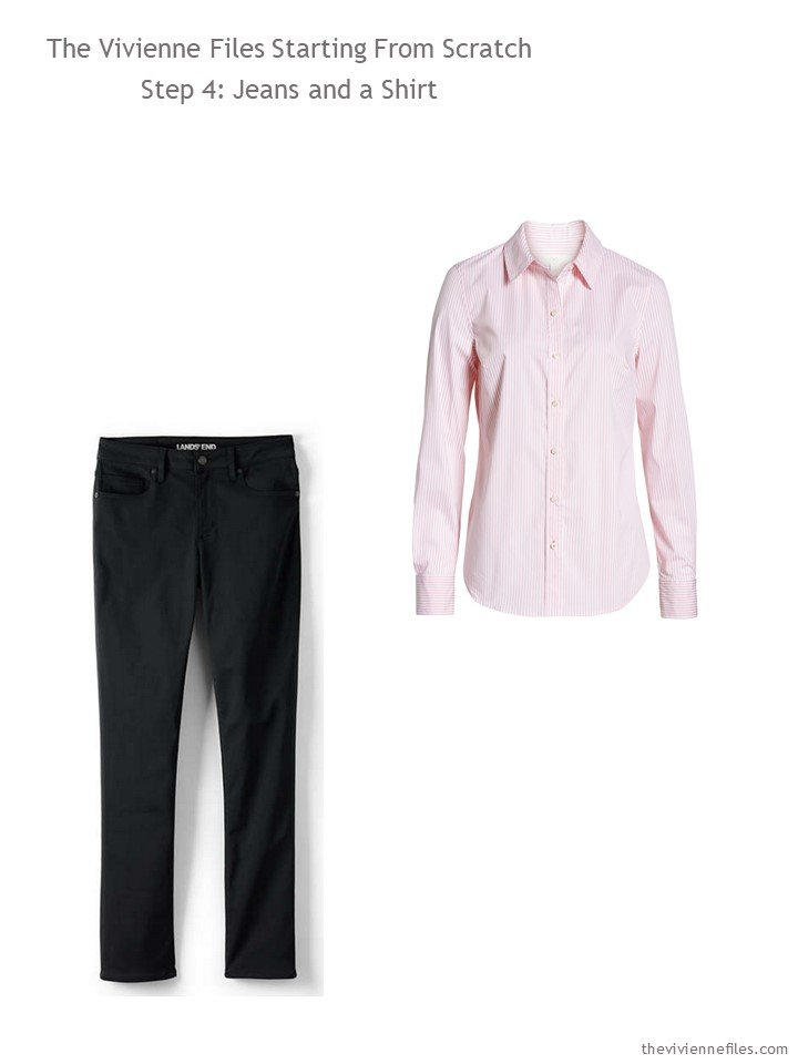 4. adding black jeans and a pink shirt to a wardrobe