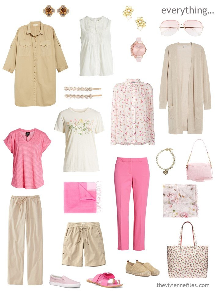 4. travel capsule wardrobe in beige and pink