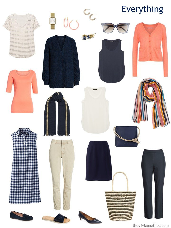 4. travel capsule wardrobe in navy, coral and beige