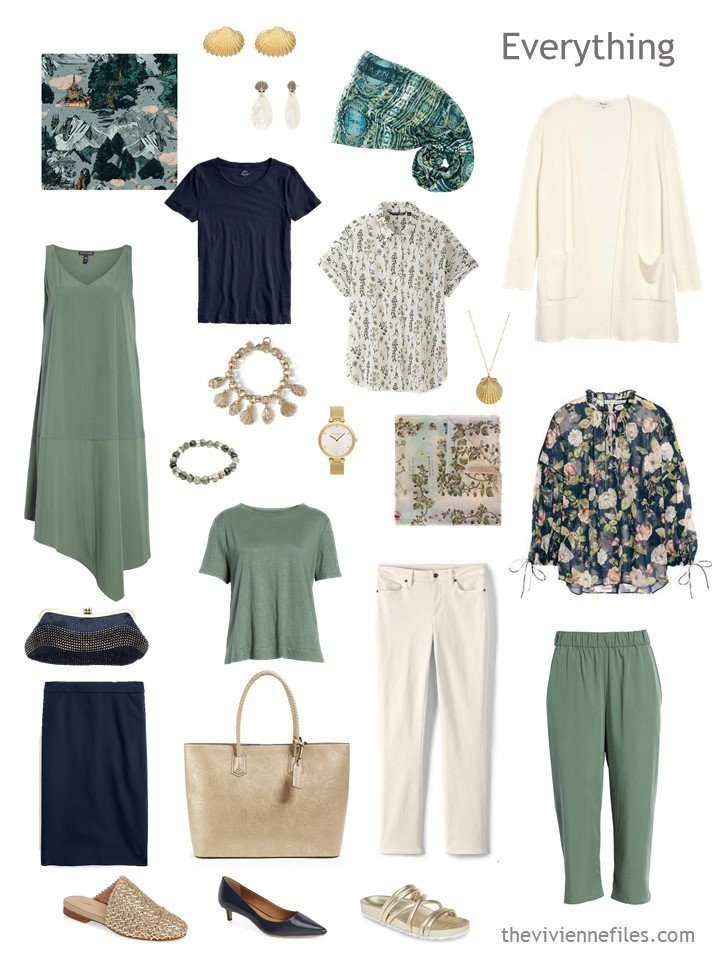 4. travel capsule wardrobe in navy, sage and beige