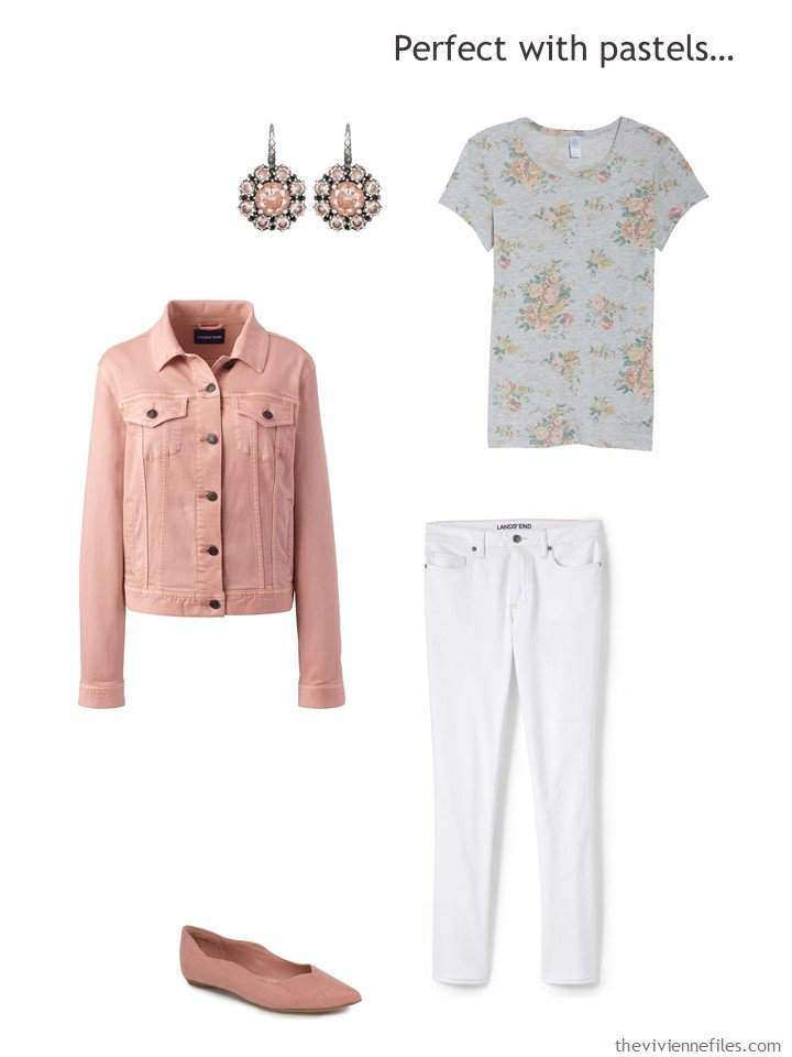 4. wearing white jeans with blush and grey