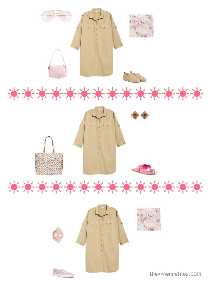 5. 3 ways to wear a beige shirtdress from a travel capsule wardrobe