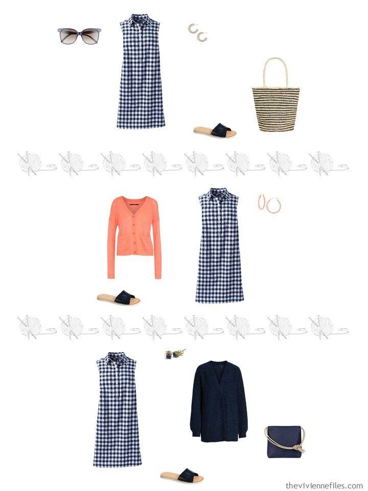 5. 3 ways to wear a navy checked dress from a travel capsule wardrobe