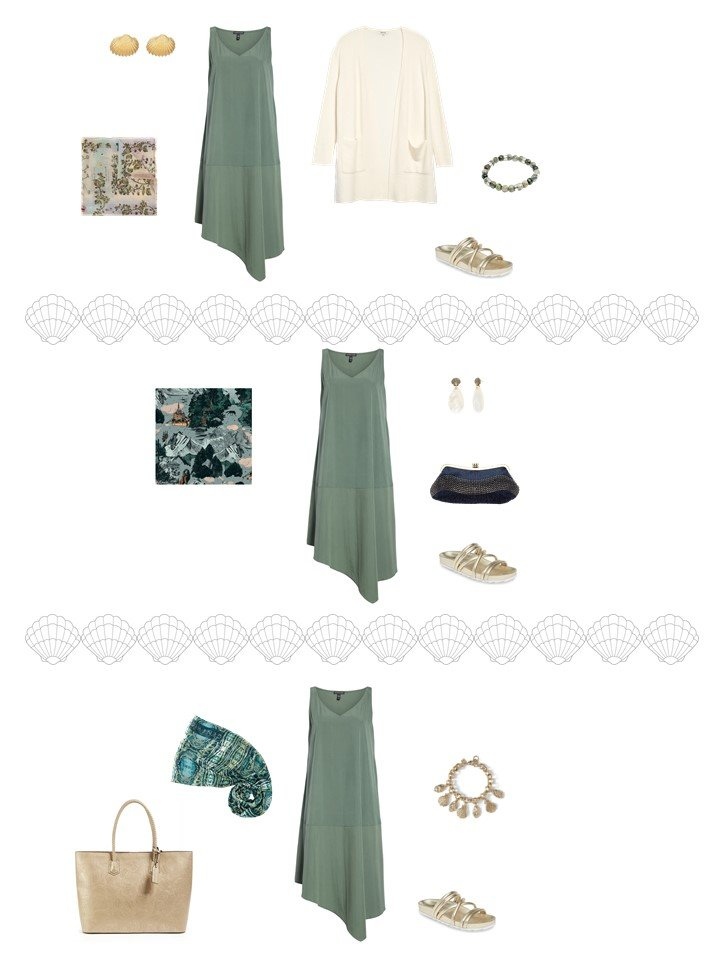 5. 3 ways to wear a sage dress from a capsule wardrobe
