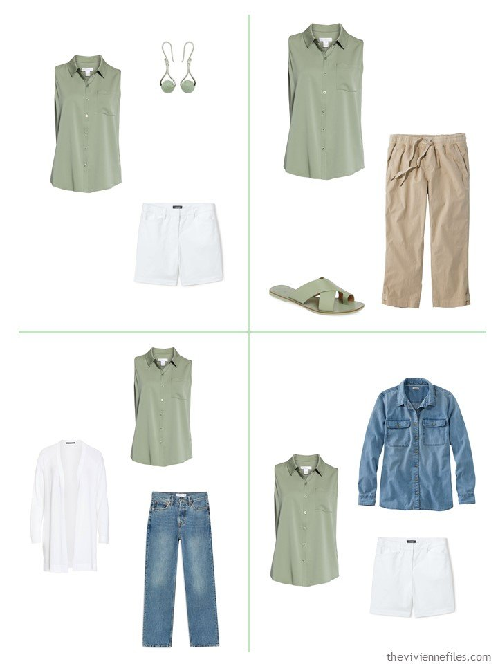 5. 4 ways to wear a green sleeveless shirt