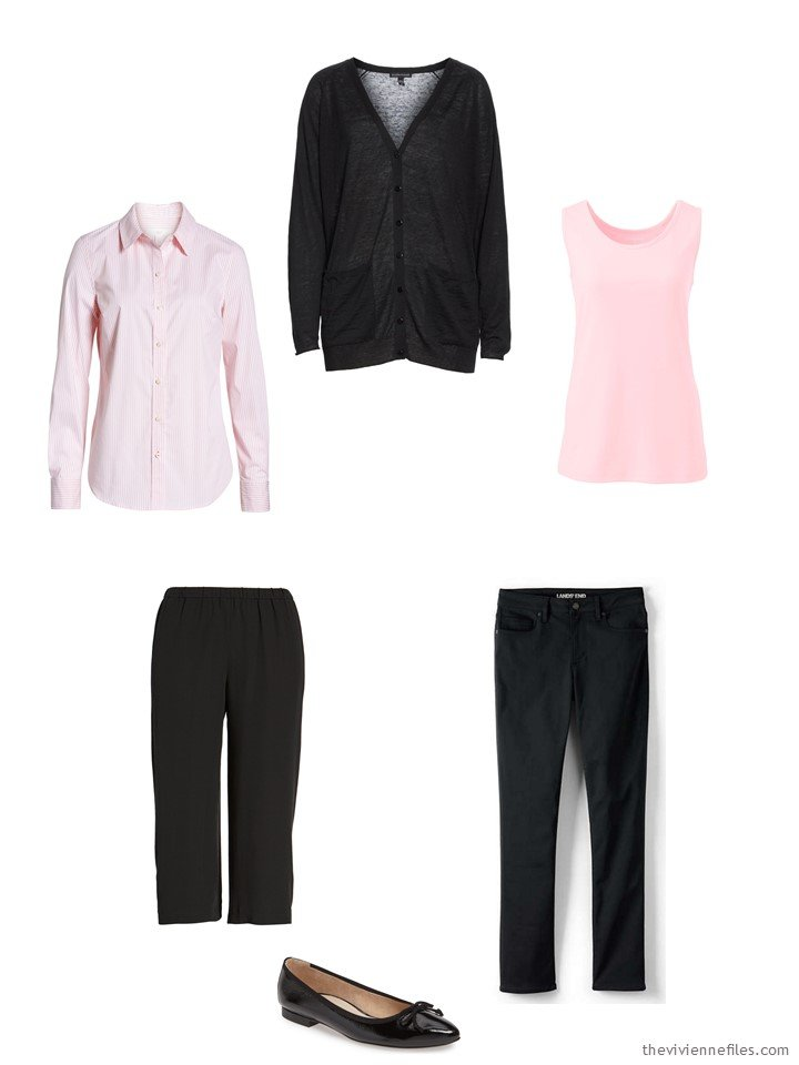 5. a 5-piece core wardrobe in black and pink