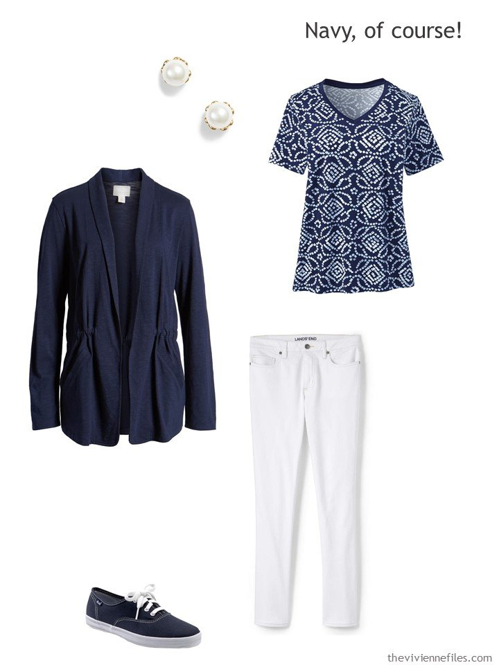 5. wearing white jeans with navy