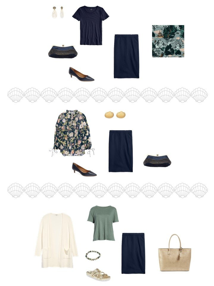 6. 3 ways to wear a navy skirt from a travel capsule wardrobe