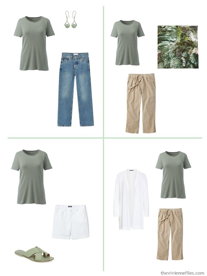 6. 4 ways to wear a green striped tee shirt