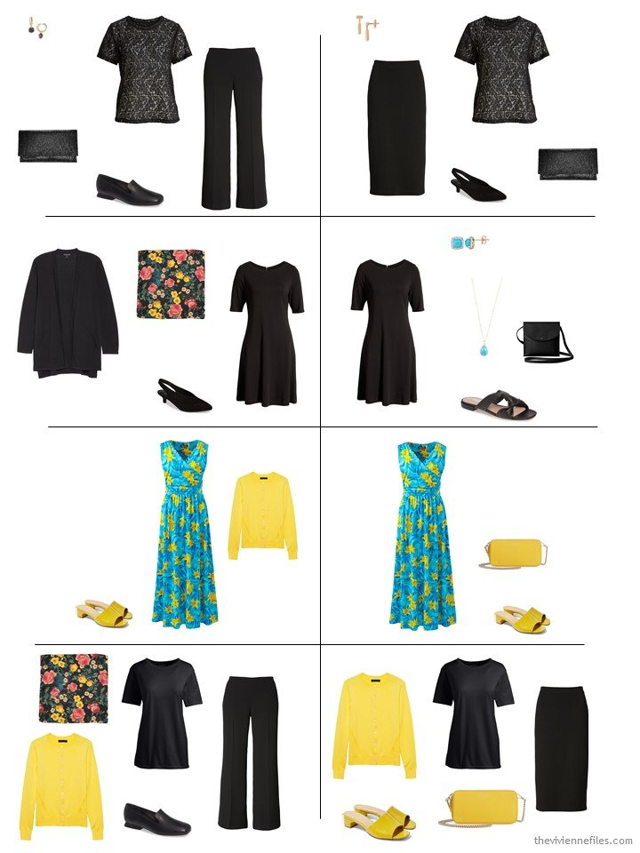 6. 8 dressy outfits from the overall 14-piece travel capsule wardrobe