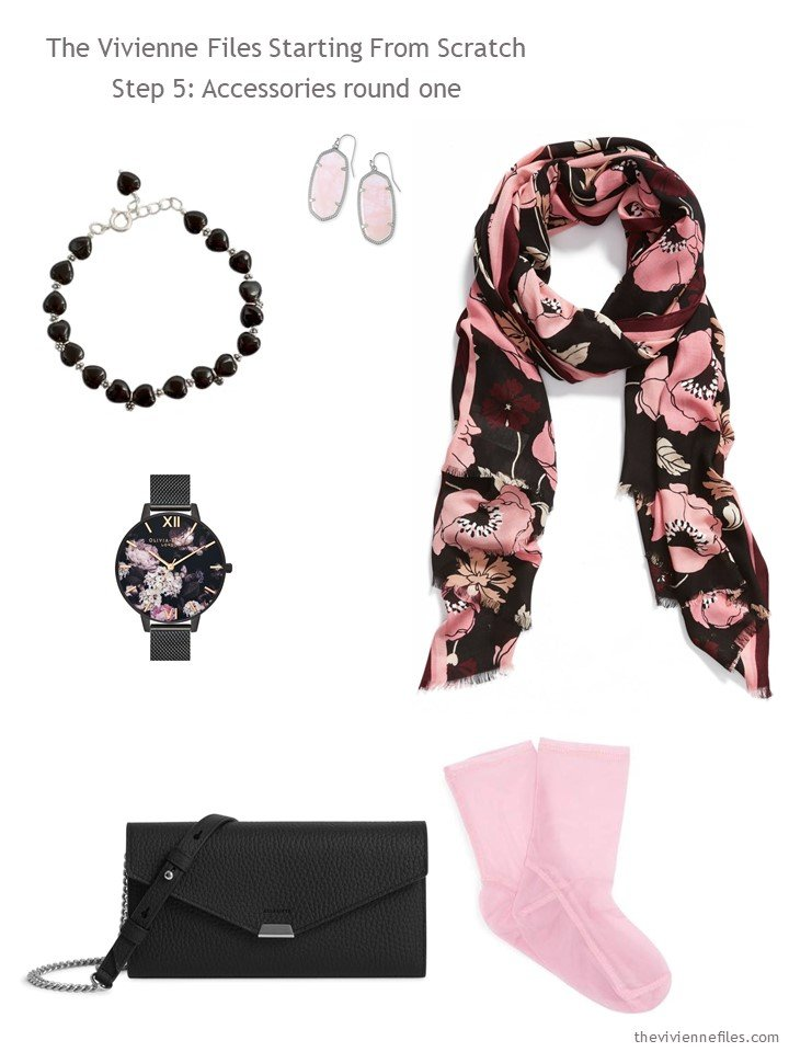 6. adding 6 accessories to a black and pink wardrobe