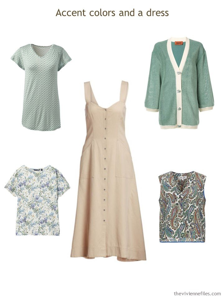 6. adding green, and a dress, to a Whatever's Clean 13 wardrobe
