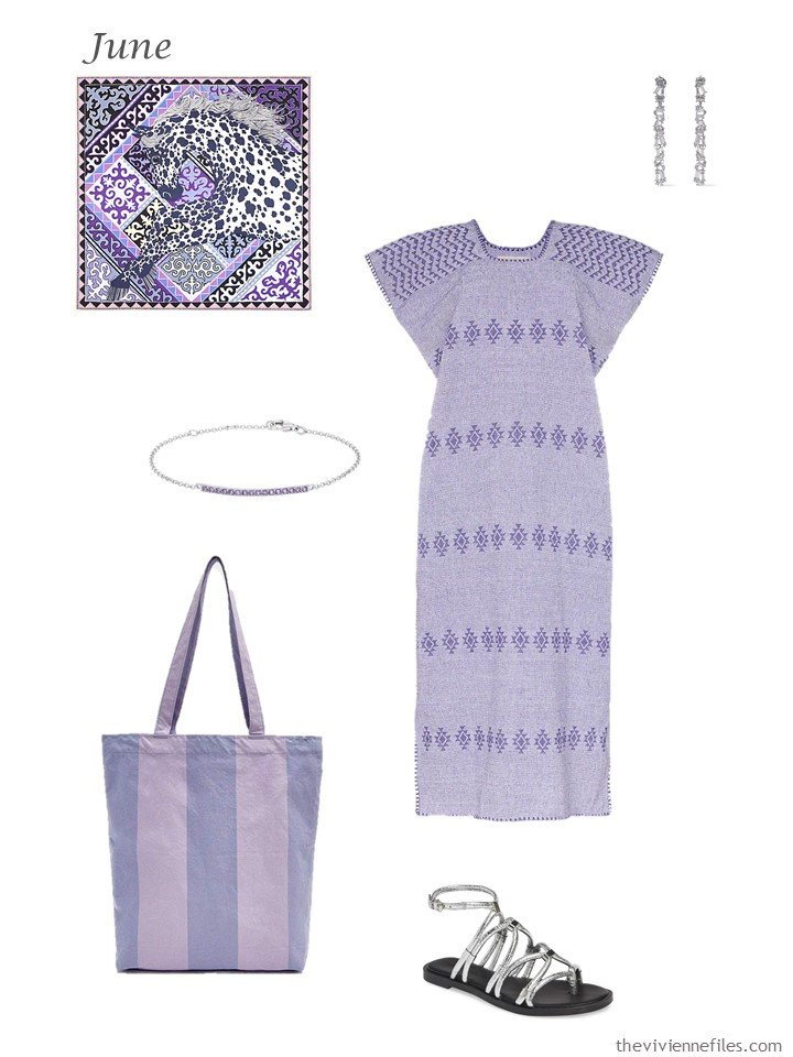 6. lilac summer dress with accessories