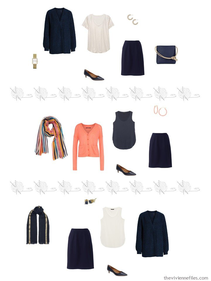 7. 3 ways to wear a navy skirt from a travel capsule wardrobe