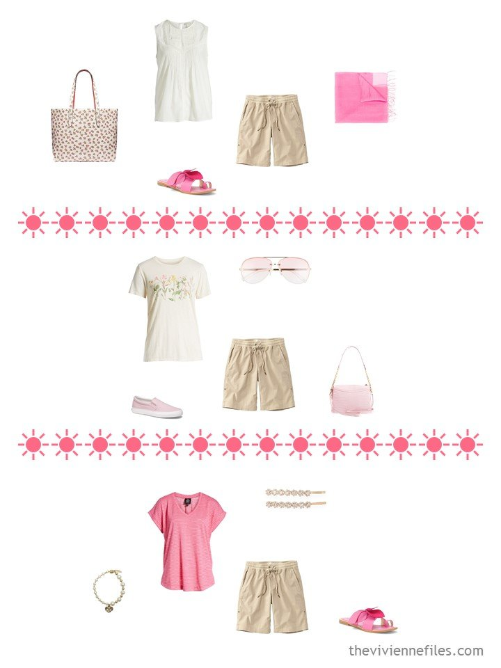 7. 3 ways to wear beige shorts from a travel capsule wardrobe