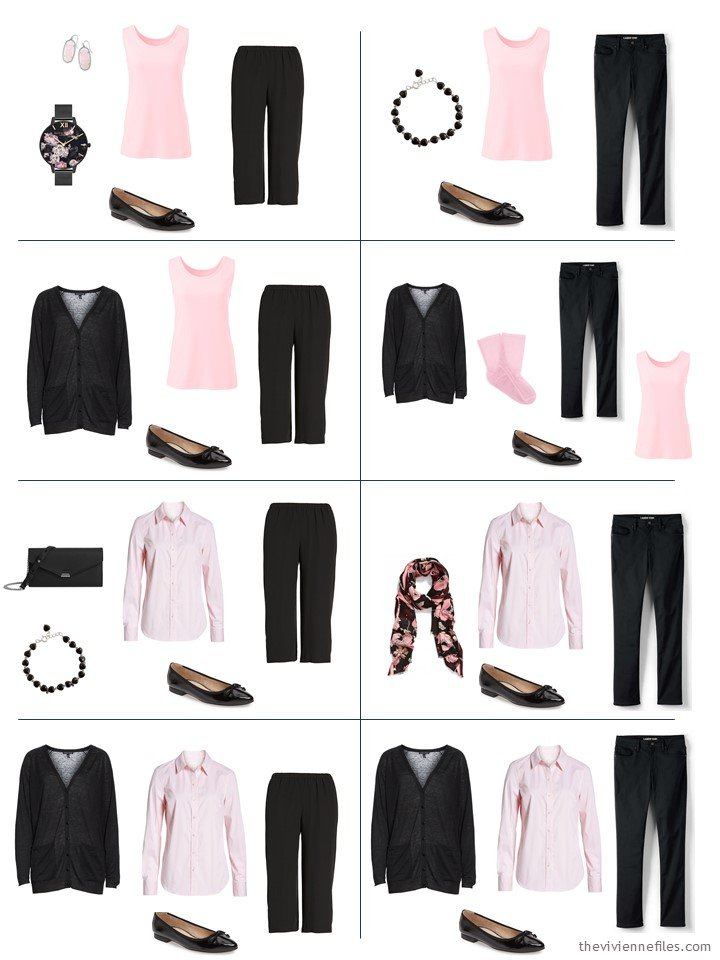 7. 8 ways to wear 5 black and pink garments