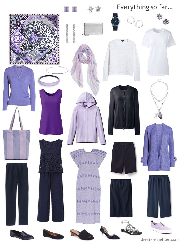 7. capsule wardrobe in navy, white, and shades of purple