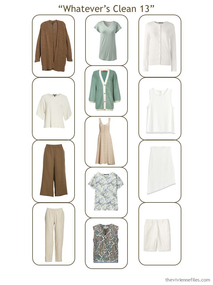 7. complete Whatever's Clean 13 wardrobe in beige, brown, and green