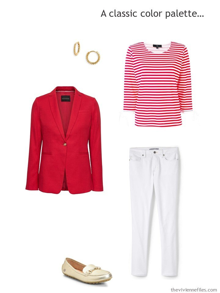 7. wearing white jeans with red