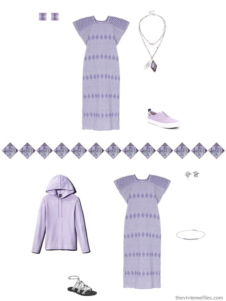 8. 2 ways to wear a lilac summer dress from a travel capsule wardrobe