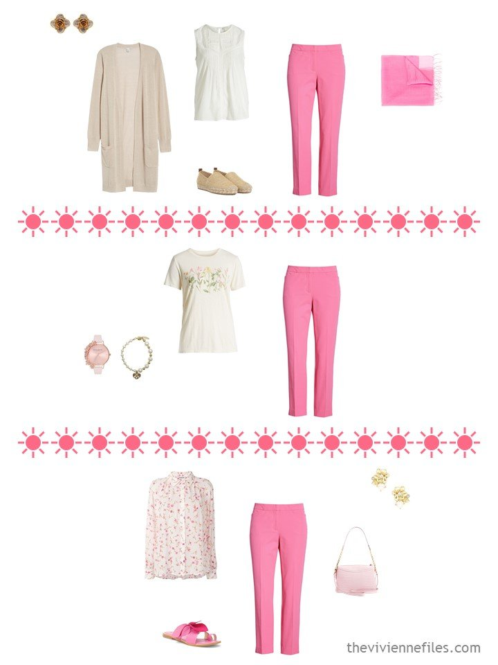 8. 3 ways to wear pink pants from a travel capsule wardrobe
