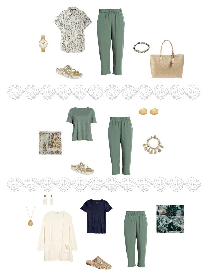 8. 3 ways to wear sage cropped pants from a travel capsule wardrobe
