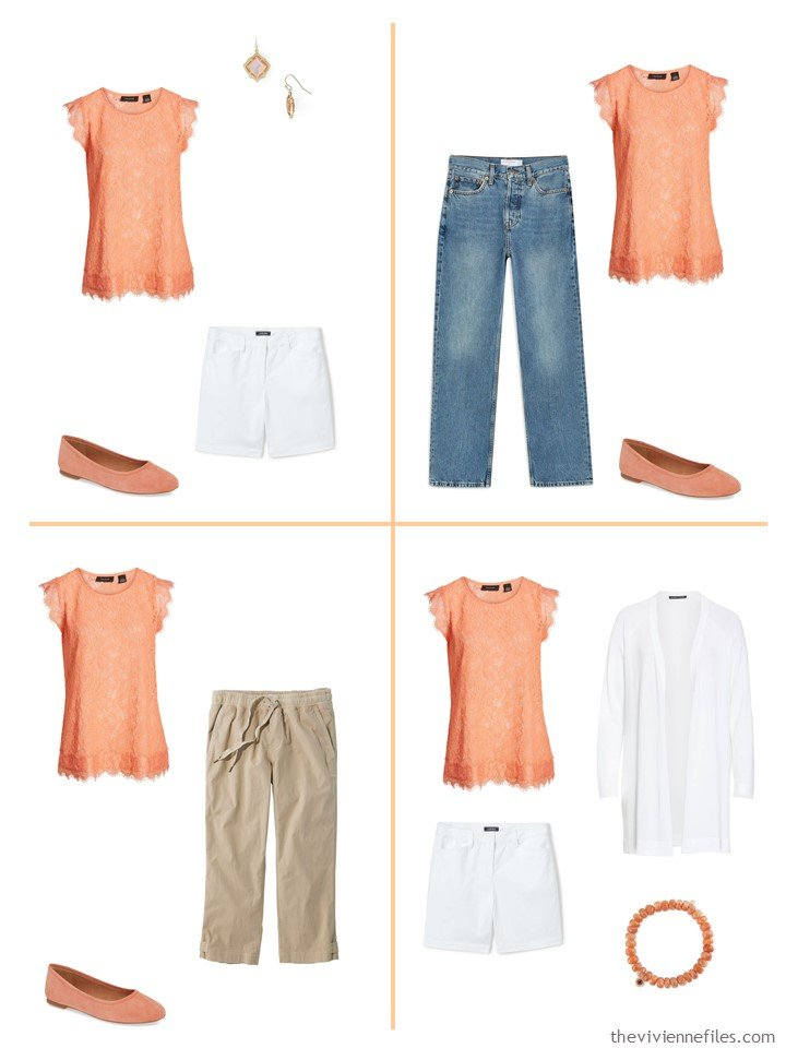8. 4 ways to wear an orange lace top