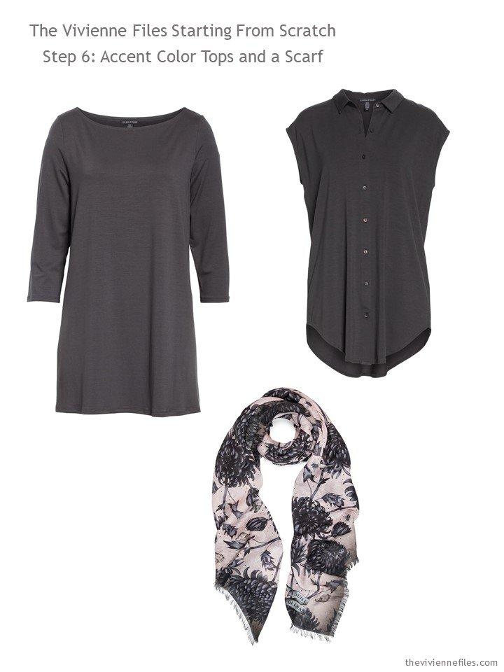 8. adding 2 charcoal tops and a scarf to a wardrobe