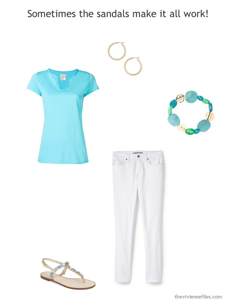 8. wearing white jeans with turquoise