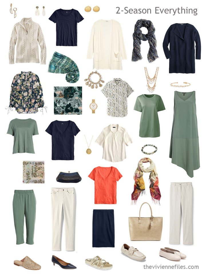 9. 2 season capsule wardrobe in sage, navy, orange and ivory