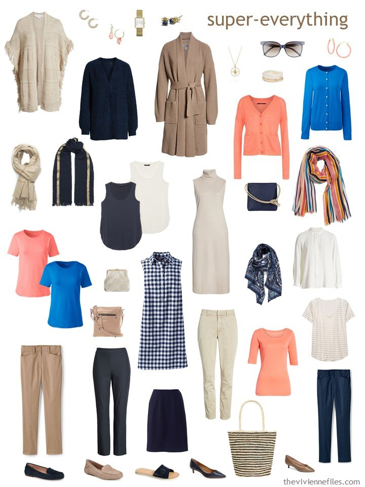 9. 2 season wardrobe in navy, beige, brown and coral