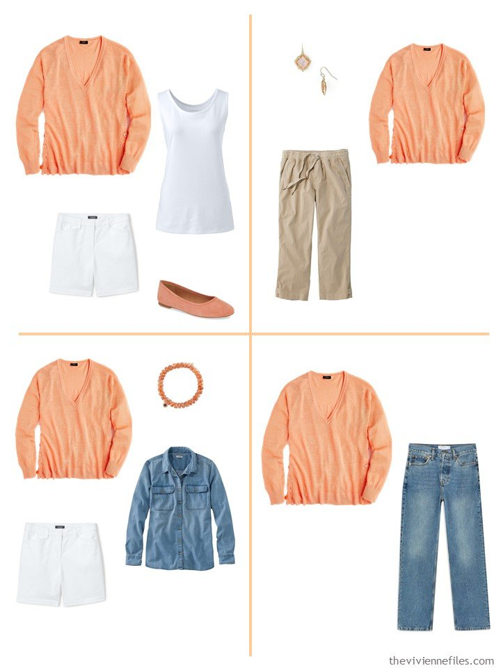 9. 4 ways to wear an orange v-neck sweater