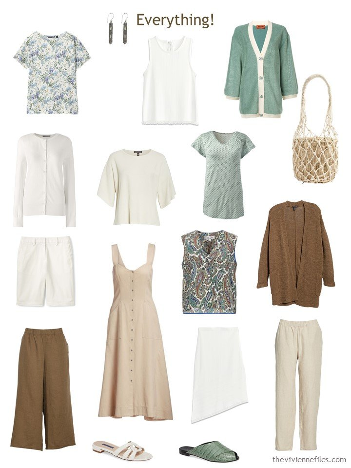 9. a complete Whatever's Clean 13 wardrobe in beige, brown, ivory and green