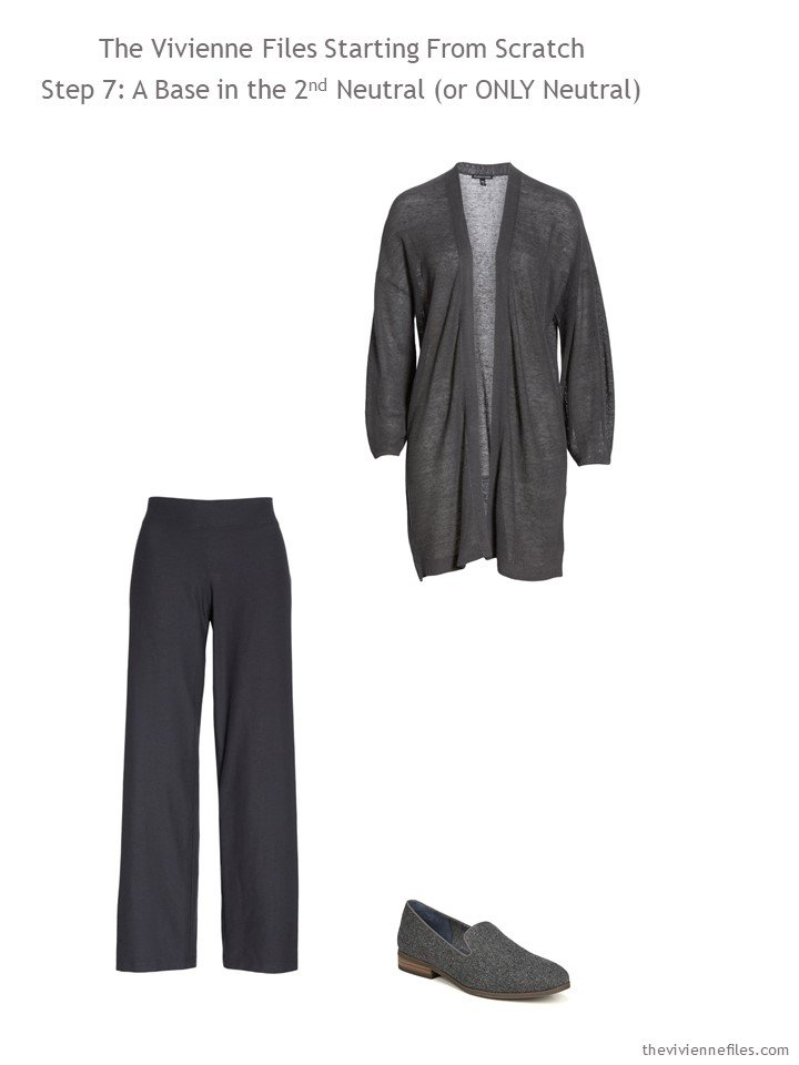 9. adding charcoal pants and cardigan and loafers to a wardrdobe